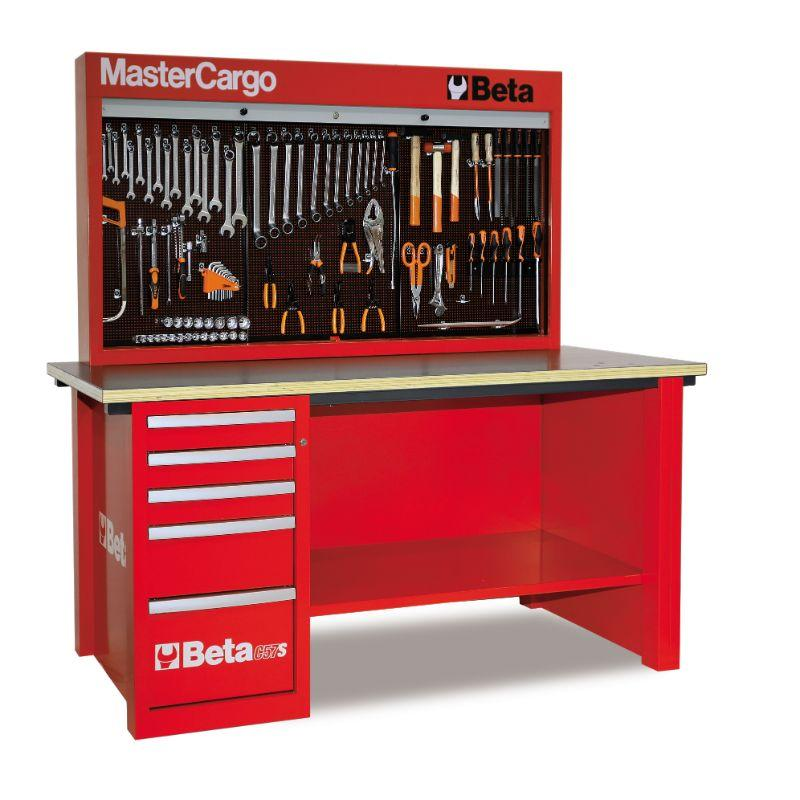 Beta Tools C57SA MasterCargo Workbench With One Cabinet and Tool Panel in Red Front View