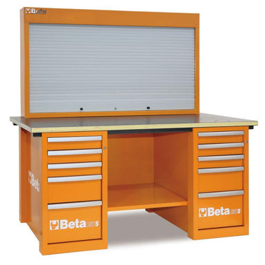Beta Tools C57SB MasterCargo Workbench With Two Cabinets and Tool Panel in Orange Front View