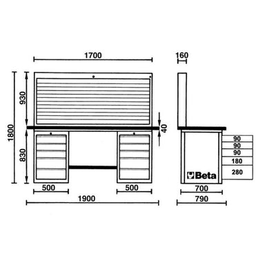 Beta Tools C57SB MasterCargo Workbench Overview of Dimensions