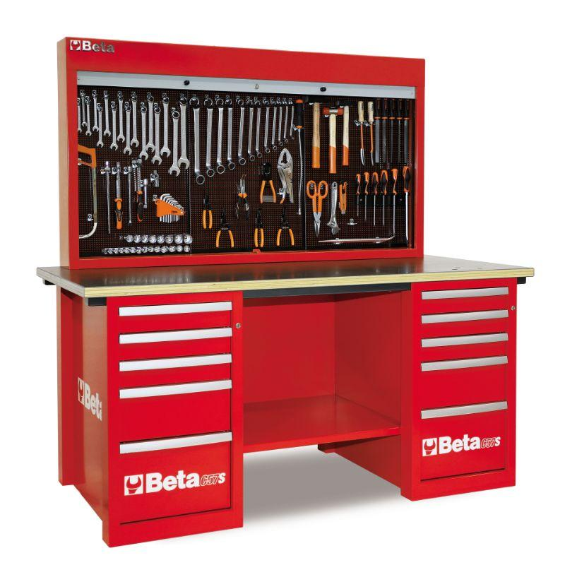 Beta Tools C57SB MasterCargo Workbench With Two Cabinets and Tool Panel in Red Front View