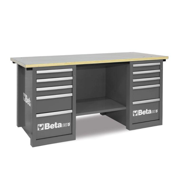 Beta Tools C57SC MasterCargo Workbench With Two Cabinets in Grey Front View