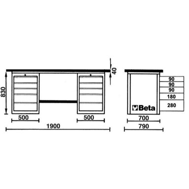 Beta Tools C57SC MasterCargo Workbench Overview of Dimensions
