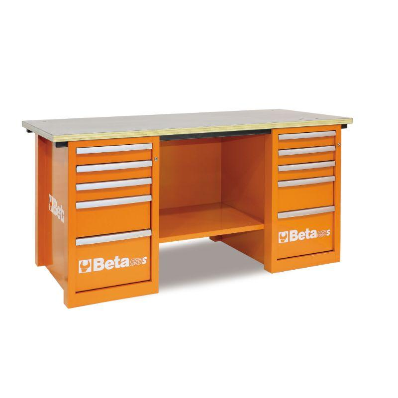Beta Tools C57SC MasterCargo Workbench With Two Cabinets in Orange Front View