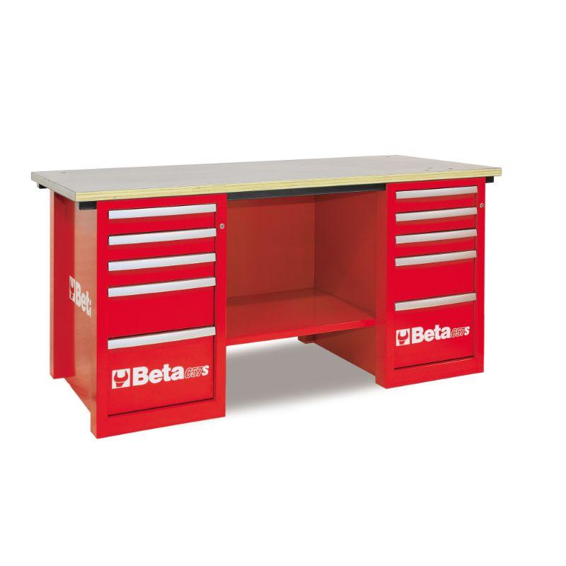 Beta Tools C57SC MasterCargo Workbench With Two Cabinets in Red Front View