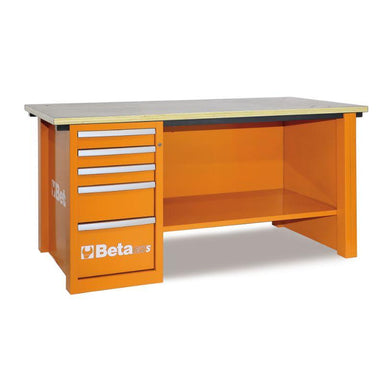 Beta Tools C57SD MasterCargo Workbench With One Cabinet in Orange Front View