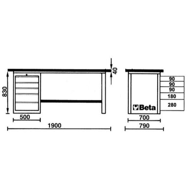Beta Tools C57SD MasterCargo Workbench Overview of Dimensions