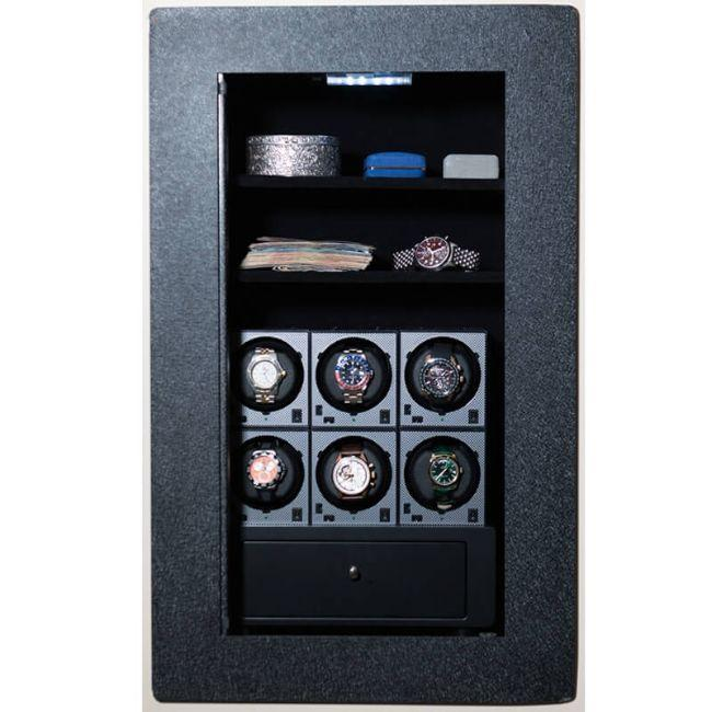 Blum Safe (301504) Watch Safe With 6 Watch Winders Pictured with No Door to Show Interior Storage Space