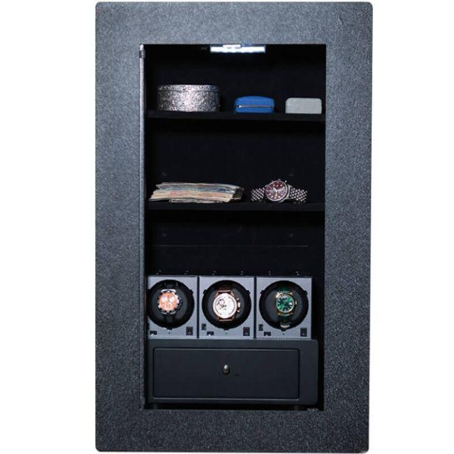 Blum Safe (301504) Watch Safe With 3 Watch Winders Pictured with No Door to Show Interior Storage Space