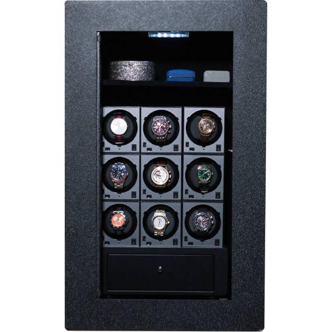 Blum Safe (301504) Watch Safe With 9 Watch Winders Pictured with No Door to Show Interior Storage Space
