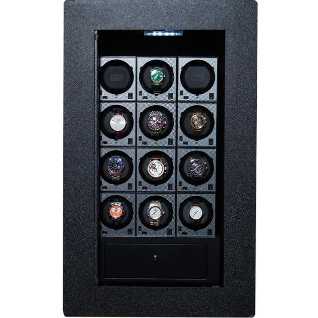 Blum Safe (301504) Watch Safe With 12 Watch Winders Pictured with No Door to Show Interior Storage Space