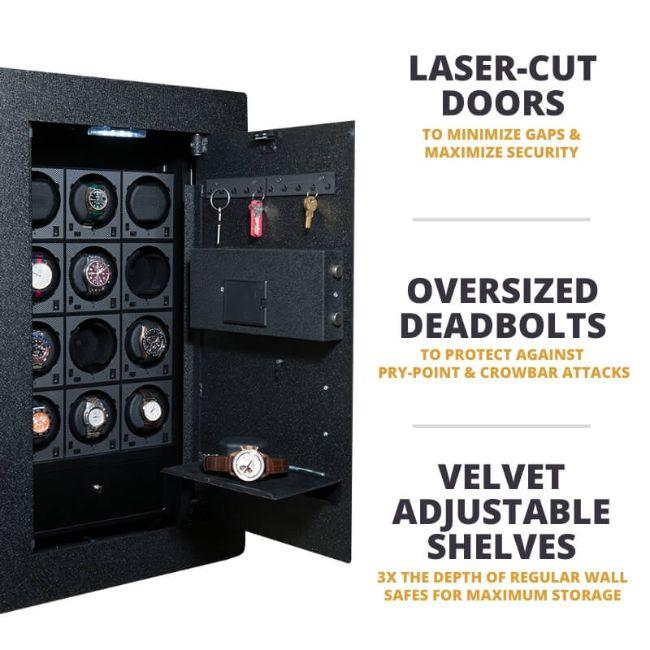 Blum Safe (301504) Watch Safe Comes with Laser-Cut Doors, 20MM Deadbolts, and Velvet-lined Adjustable Shelves that has 3x the depth of regular wall safes.