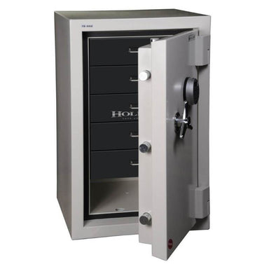 Hollon 845C-JD Jewelry Safe with Doors Opened Showing Black Drawer Inserts. Equipped with Dial Locks.