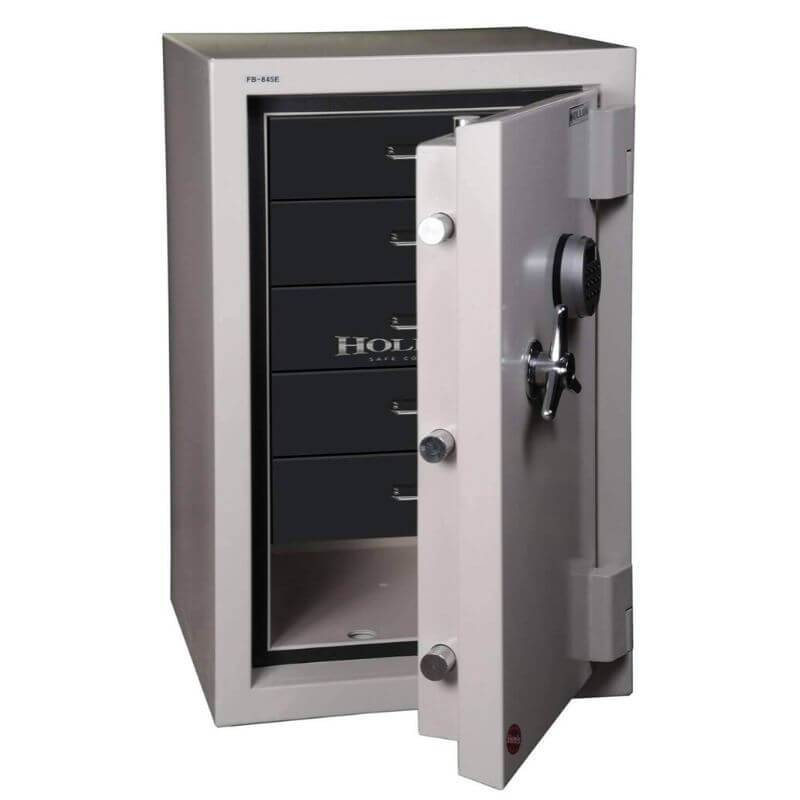 Hollon 845E-JD Jewelry Safe with Doors Opened Showing Black Drawer Inserts. Equipped with Dial Locks.