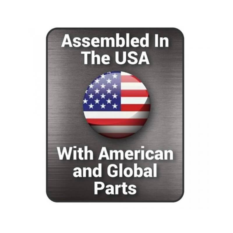 Badge indicating that this product was assembled in the USA with American and Global Parts.
