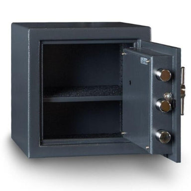 Hollon B1414E B-Rated Cash Box with Electronic Locks. Doors Opened Showing Interior Shelving.