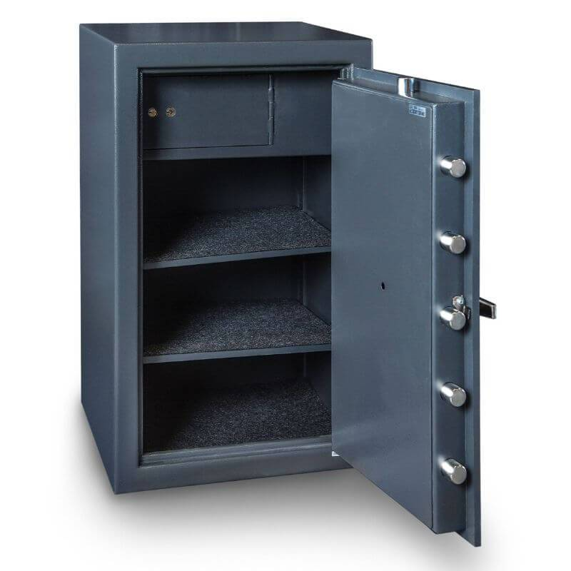 Hollon B3220CILK B-Rated Cash Box with Dial Locks. Doors Opened Showing Interior Shelving.