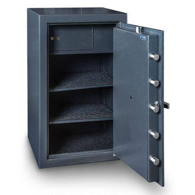 Hollon B3220EILK B-Rated Cash Box with Electronic Locks. Doors Opened Showing Interior Shelving.