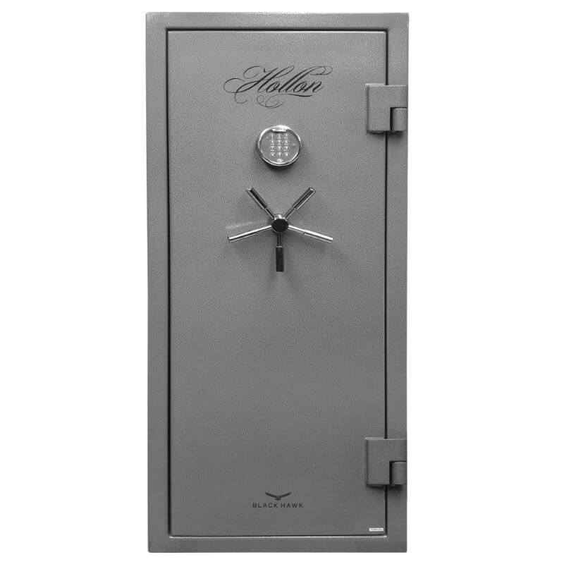 Hollon BHS-16 Black Hawk Gun Safes With Doors Closed in Hammered Steel Viewed Directly From the Front.