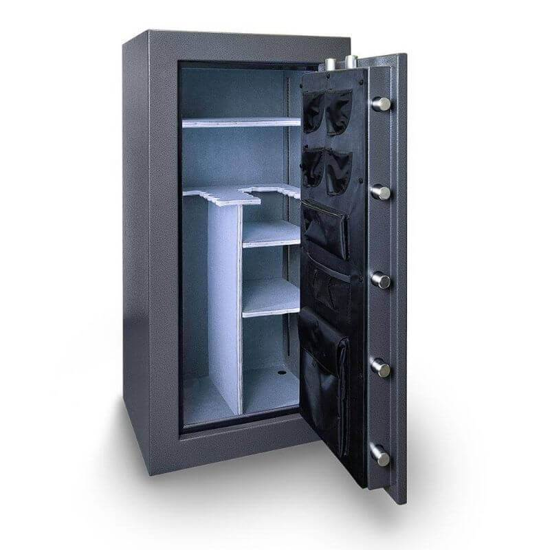 Hollon BHS-16 Black Hawk Gun Safes With Doors Opened Showing Interior Shelving and Pocket Door Organizers.