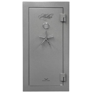 Hollon BHS-22 Black Hawk Gun Safes With Doors Closed in Hammered Steel Viewed Directly From the Front.