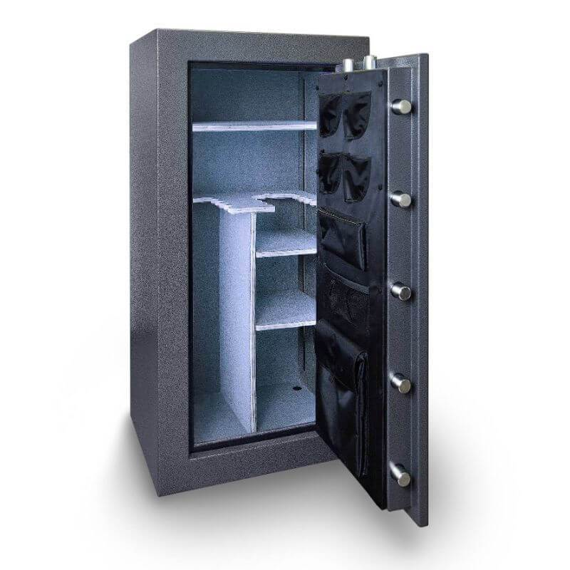 Hollon BHS-22 Black Hawk Gun Safes With Doors Opened Showing Interior Shelving and Pocket Door Organizers.