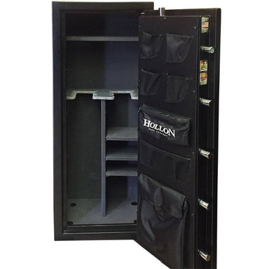 Hollon CS-12E Crescent Shield Gun Safe With Door Opened Showing Interior Shelving & Pocket Door Organizer