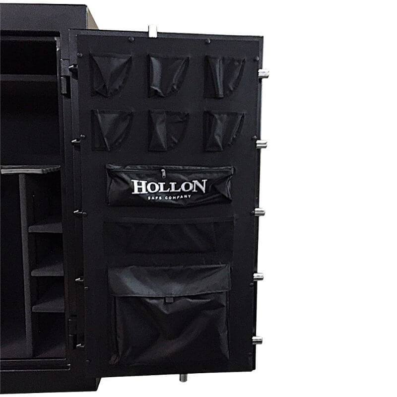 Hollon CS-36E Crescent Shield Gun Safe With Door Opened Showing Interior Shelving & Pocket Door Organizer