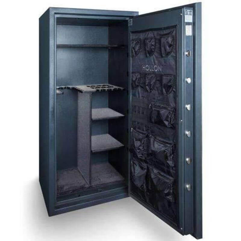 Hollon EMP-5530 EMP TL-15 Tactical Gun Safe in Stealth Charcoal With Doors Opened Showing Interior of Gun Vault