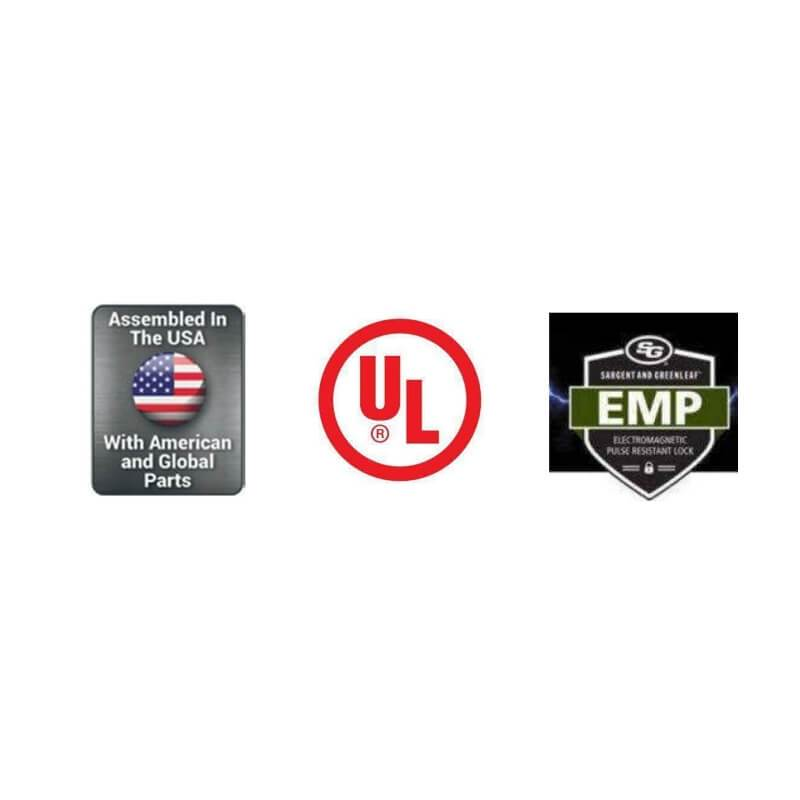 Badges showing that this product is Assembled in the USA, UL Listed and EMP Resistant.