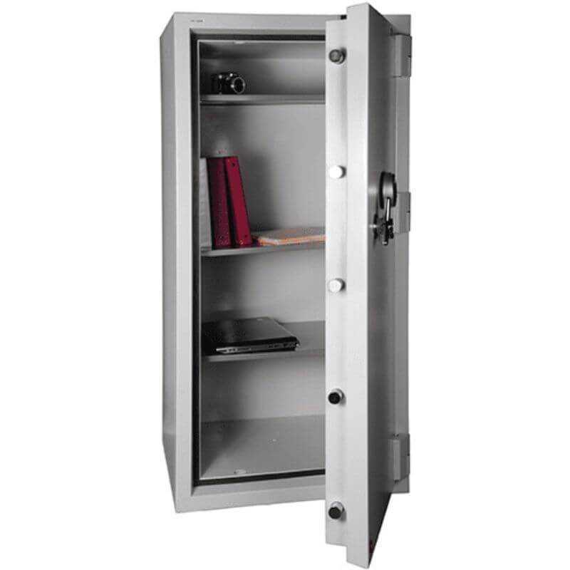 Hollon FB-1055E Fire & Burglary Safe with Electronic Locks, Door Opened Showing Interior Shelving