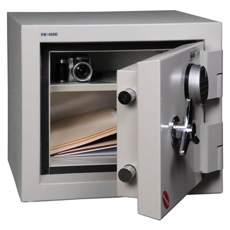 Hollon FB-450C Fire & Burglary Safe with Dial Locks, Door Opened Showing Interior Shelving