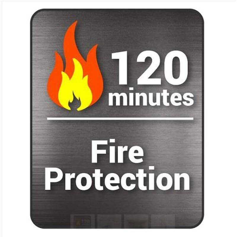 Hollon FB-845C Fire & Burglary Safe Badge Showing 120mins of Fire Protection