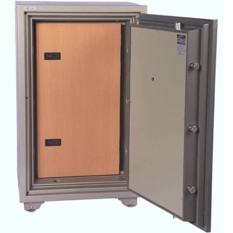 Hollon HDS-1000C Data Safe with Dial Locks. Door Opened with Covered Contents