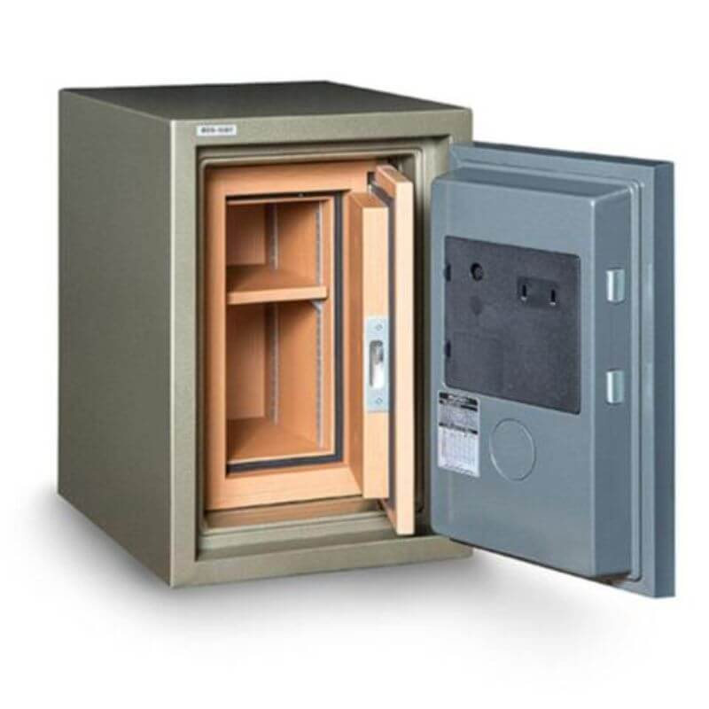 Hollon HDS-500E Data Safe with Electronic Locks. Door Opened Showing Interior Shelving