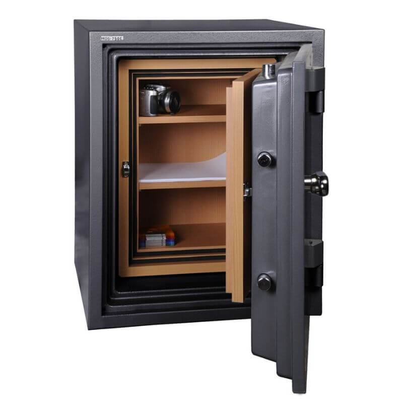 Hollon HDS-750E Data Safe with Electronic Locks. Door Opened Showing Interior Shelving