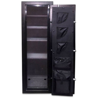 Hollon HGS-11E Hunter Series Gun Safe With Doors Opened Showing the Interior Shelving and Pocket Door Organizer