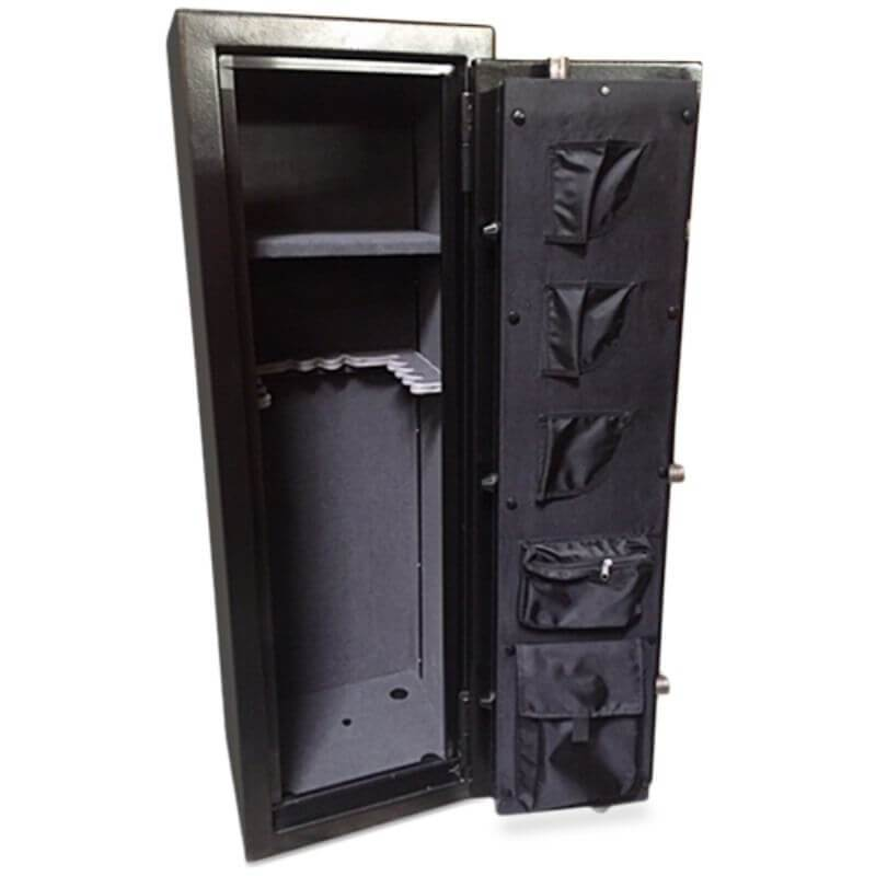 Hollon HGS-11E Hunter Series Gun Safe With Doors Opened Showing the Interior Shelving and Pocket Door Organizer Viewed from the Front Left