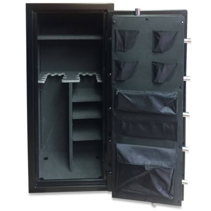Hollon HGS-16E Hunter Series Gun Safe With Doors Opened Showing the Interior Shelving and Pocket Door Organizer
