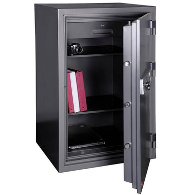 Hollon HS-1200E Office Safe with Electronic Locks Viewed from the Front Left. Doors Opened Showing Interior Shelving.