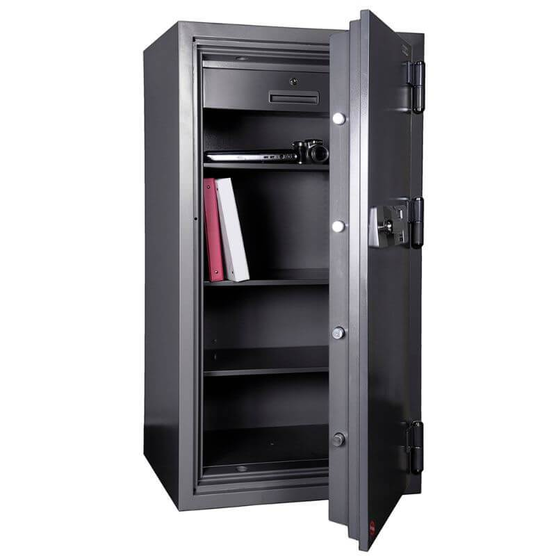 Hollon HS-1400C Office Safe with Dial Locks Viewed from the Front Left. Doors Opened Showing Interior Shelving.