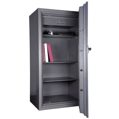 Hollon HS-1600C Office Safe with Dial Locks Viewed from the Front Left. Doors Opened Showing Interior Shelving.