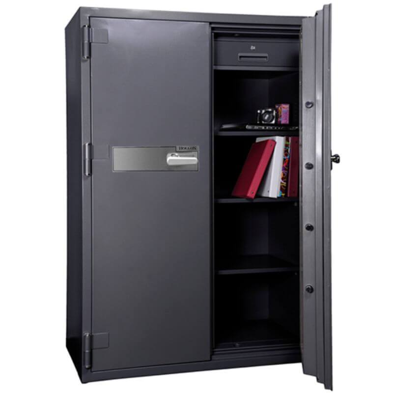 Hollon HS-1750C Office Safe with Dial Locks Viewed from the Front Left. Doors Opened Showing Interior Shelving.