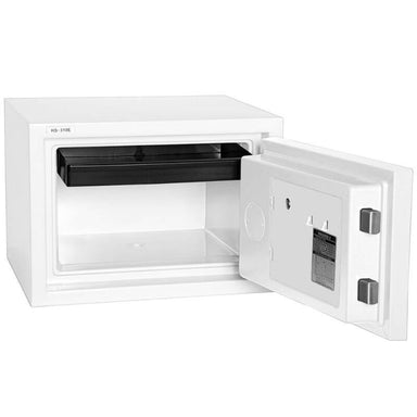 Hollon HS-310E Home Safe with Electronic Locks and Door Opened, Revealing Shelf Interior