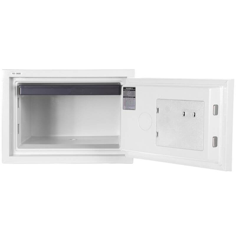 Hollon HS-360D Home Safe with Dial Locks and Door Opened, Revealing Shelf Interior