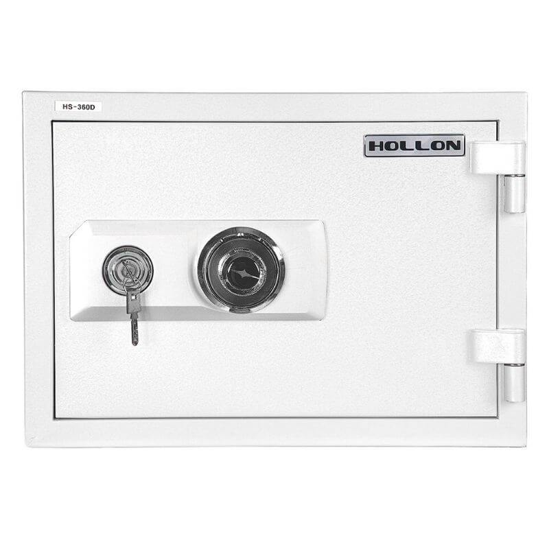 Hollon HS-360E Home Safe with Dial Locks and Door Closed. Viewed from the Front Left