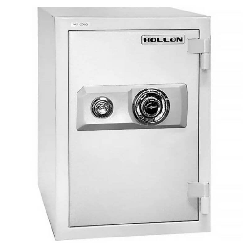 Hollon HS-500D Home Safe with Dial Locks and Door Closed. Viewed from the Front Left