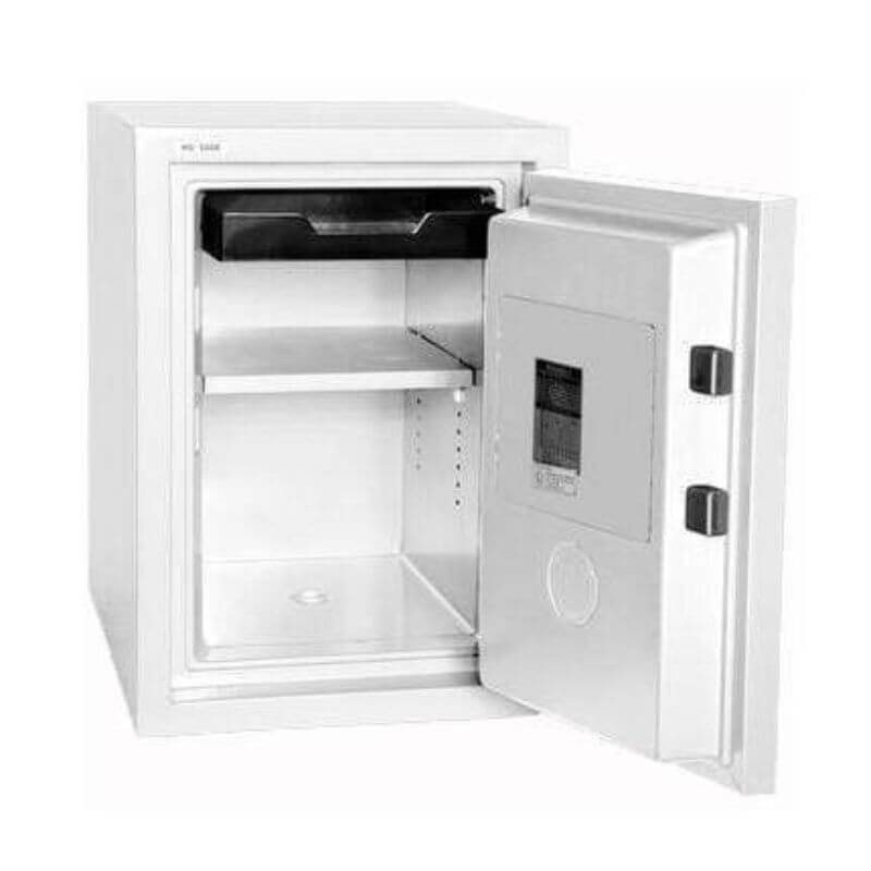 Hollon HS-500E Home Safe with Electronic Locks and Door Opened, Revealing Shelf Interior