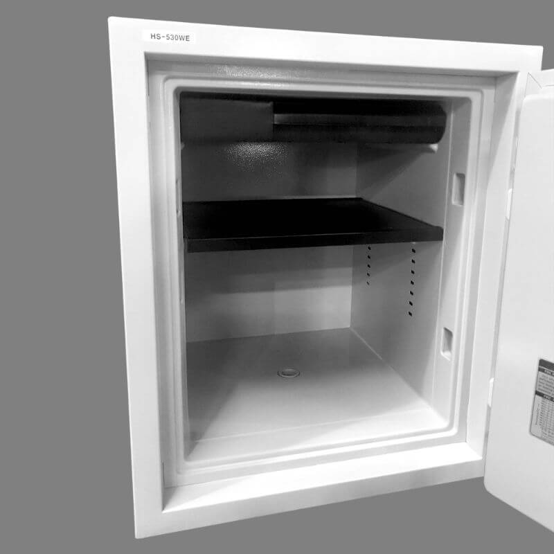 Hollon HS-530D Home Safe with Dial Locks and Door Opened, Revealing Shelf Interior Viewed from the Side