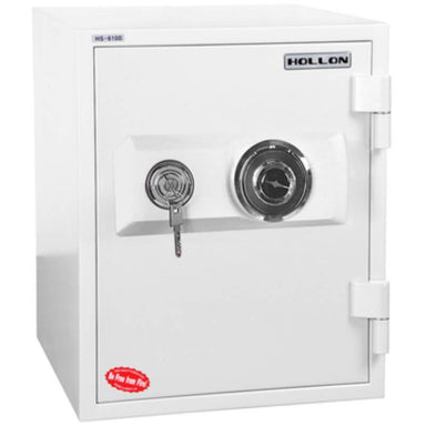 Hollon HS-610D Home Safe with Dial Locks and Door Closed. Viewed from the Front Left