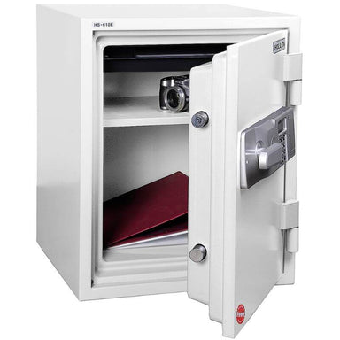 Hollon HS-610D Home Safe with Dial Locks and Door Opened, Revealing Shelf Interior